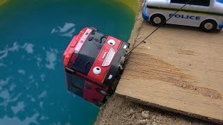 Stop stop! Tayo the Little Bus in Real Life. Gani be careful. Gani bus falls into River thumbnail