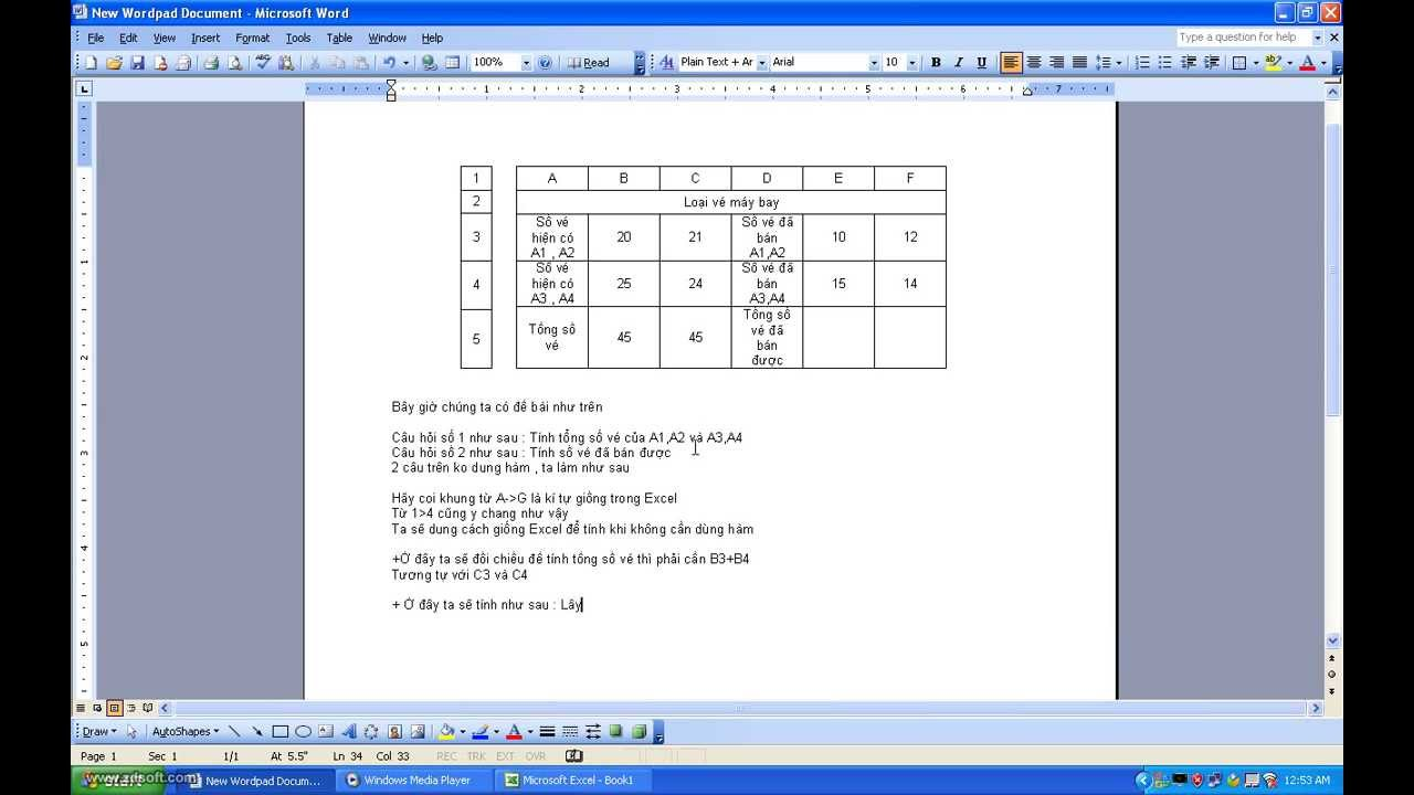 Hướng dẫn tính toán trong Word 2003 phần 2
