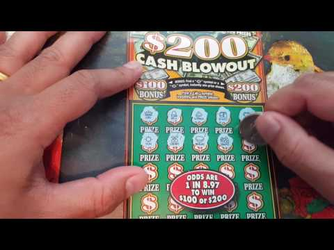 New $20 - $100 or $200 Cash Blowout Scratch Ticket Indiana Hoosier Lottery