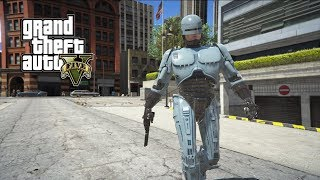 gTA 5 - ROBOCOP TAKES DOWN LOCAL STREET GANG (GTA 5 PC MODS NVR)