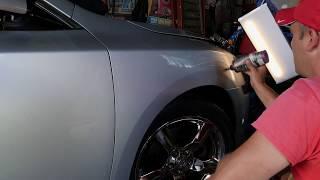 Big  dent on a passenger front fender Removal 2010 Nissan Maxima