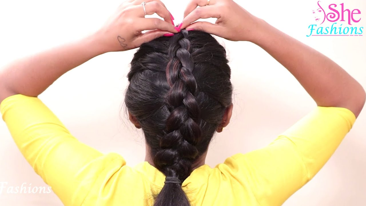 French Twist into Rope Braid Self Hairstyles | Cute Girls Hairstyles | She Fashions
