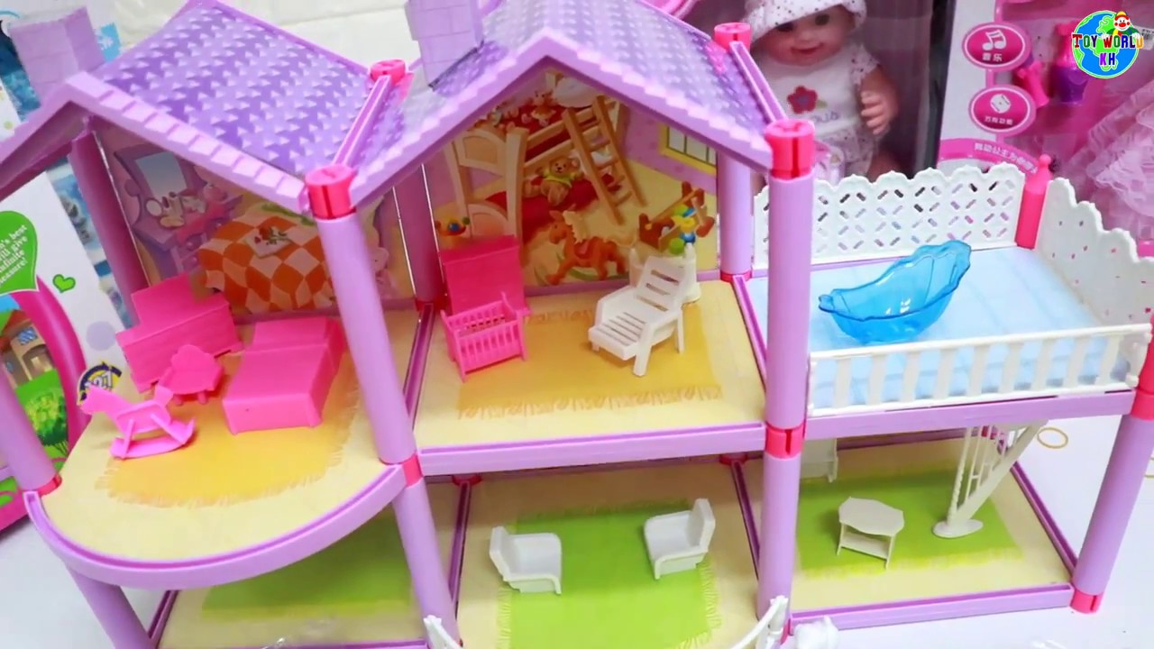 doll in the Lovely House playset toys unboxing ! khmer toys