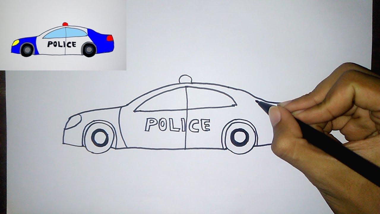 Cara Menggambar Mobil Polisi Untuk Anak How To Draw Police Car For Kids Youtube