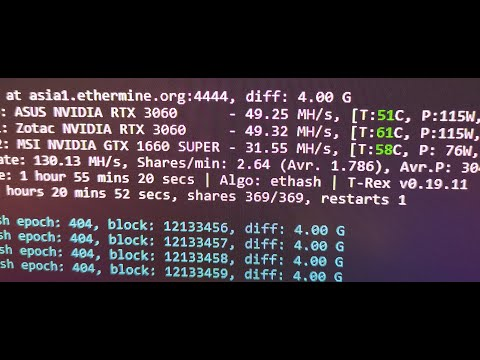 2x RTX 3060 on 1 motherboard mining ETH NO LIMITER