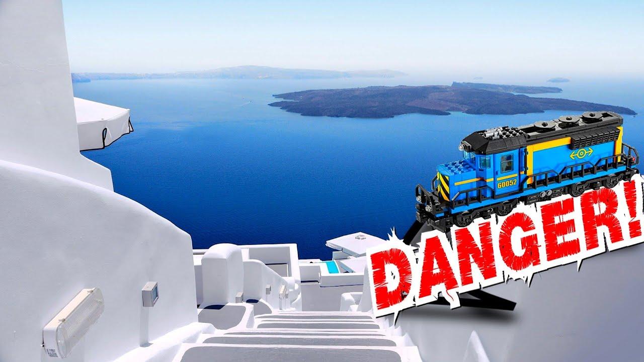 Lego train falling down the stairs in Santorini