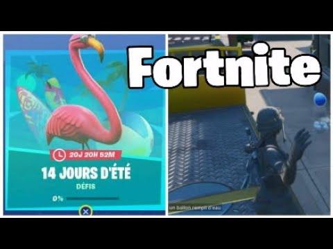 Fortnite Toucher un joueur avec un ballon rempli D'eau dans plusieurs parties (defis 14 jours d'été)