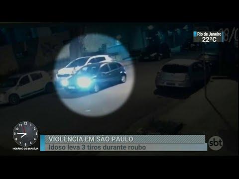 Idoso é baleado durante assalto em bairro nobre de São Paulo   SBT Brasil (09/06/18)
