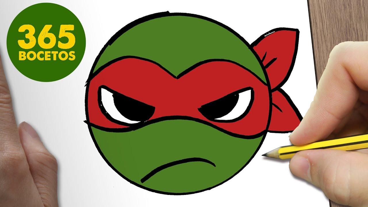 Como Dibujar Tortuga Ninja Emoticonos Whatsapp Kawaii Paso A Paso