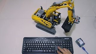 PC Keyboard Full RC LEGO Power Functions 8043 Motorized Excavator by Arduino and Processing