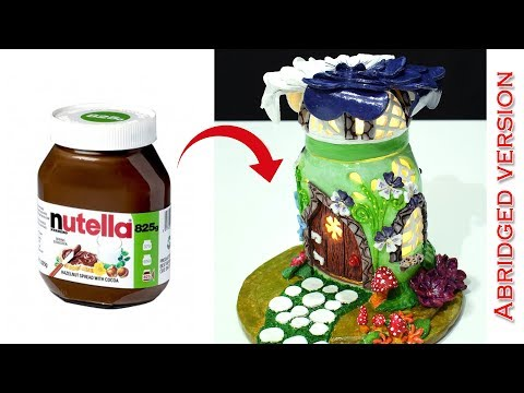 DIY Fairy Garden House Lamp using Nutella Jar | Abridged version | Paper Clay Tutorial