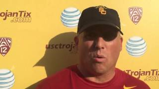 FightOn247 Video: Clay Helton USC Spring Practice No. 10