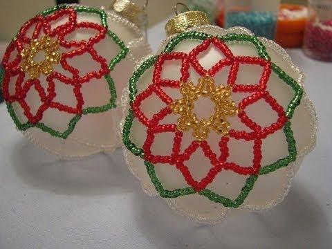 Poinsettia Beaded Ornament ~ Part 2 of 2 - YouTube