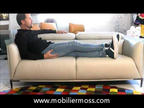 akano canap 3 places avec appuie t te relevable youtube. Black Bedroom Furniture Sets. Home Design Ideas
