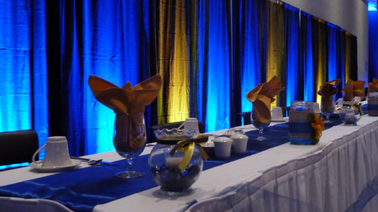 wedding lighting at black bear casino up lighting in blue and yellow