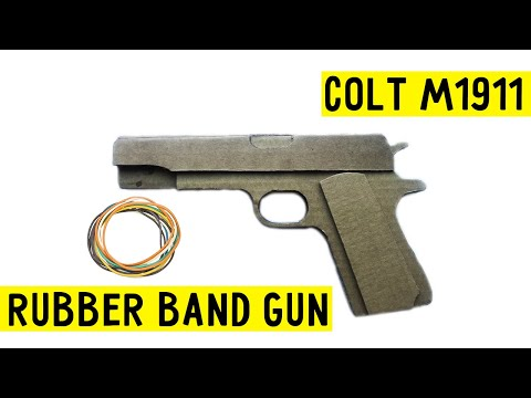 How to make  cardboard Colt M1911✅ that shoots tutorial rubber band gun