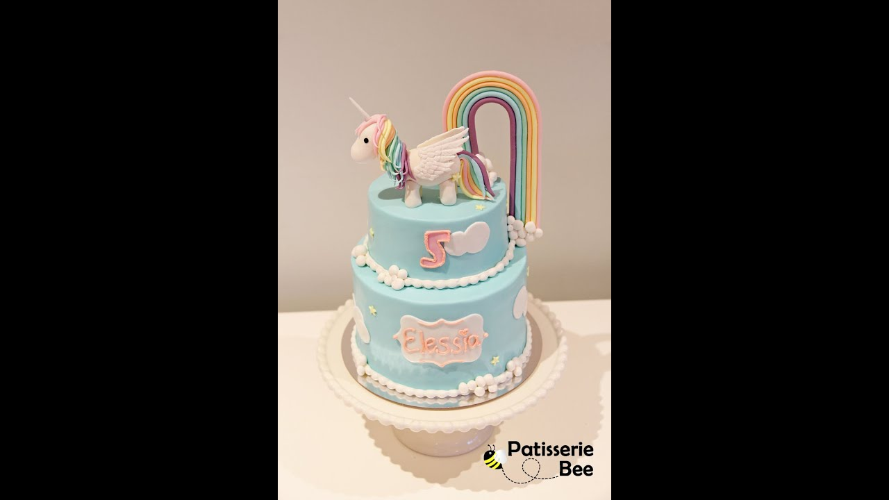 Two Tier Rainbow Unicorn Cake Tutorial Youtube