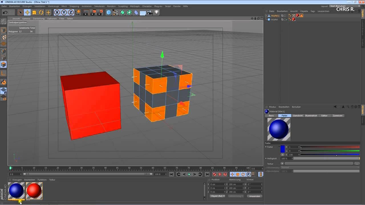 Cinema 4D Tutorial: Material [Farbe / Textur] auf Objekt oder ...
