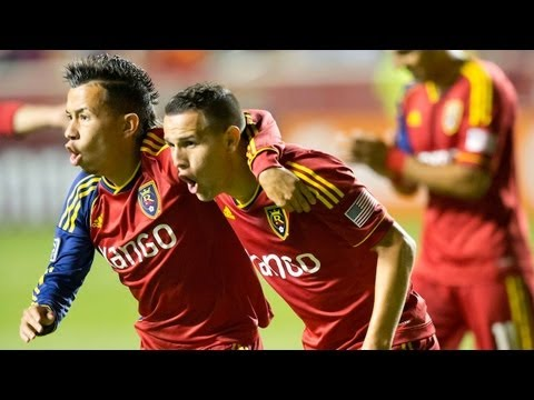 GOAL: Luis Gil slots past Ricketts for the opener   Real Salt Lake vs. Portland Timbers