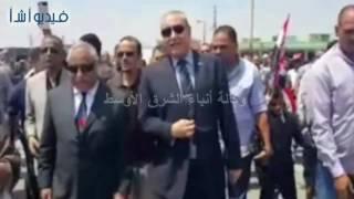 بالفيديو : افتتاح كوبرى ومزلقان اطسا ووضع حجر اساس مدرسة الشهيد عمران