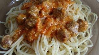 24. Спагетти с соусом из фрикаделек