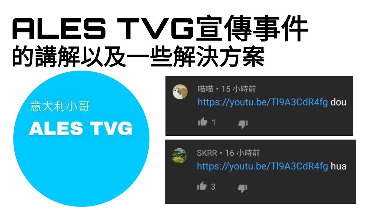 "ALES TVG宣傳事件的講解以及一些解決方案(Ales tvg已改名為""Raff095"")"