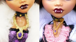 How to make DOLL HOT GLUE NECKLACES - Easy Doll Crafts