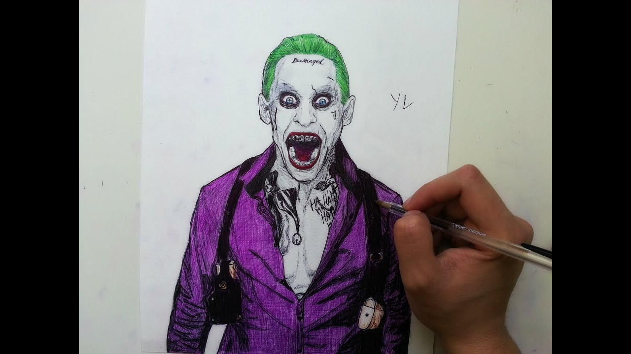 Drawing The Joker With Ballpoint Pen