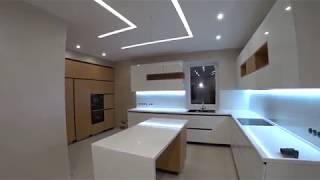 Кухня без ручек . Чёрный профиль . ДСП EGGER и фасад мдф покраска . Обзор Кухни