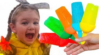 Liza and Nastya make color fruit ice cream | Color Song Nursery Rhymes | Learn Colors