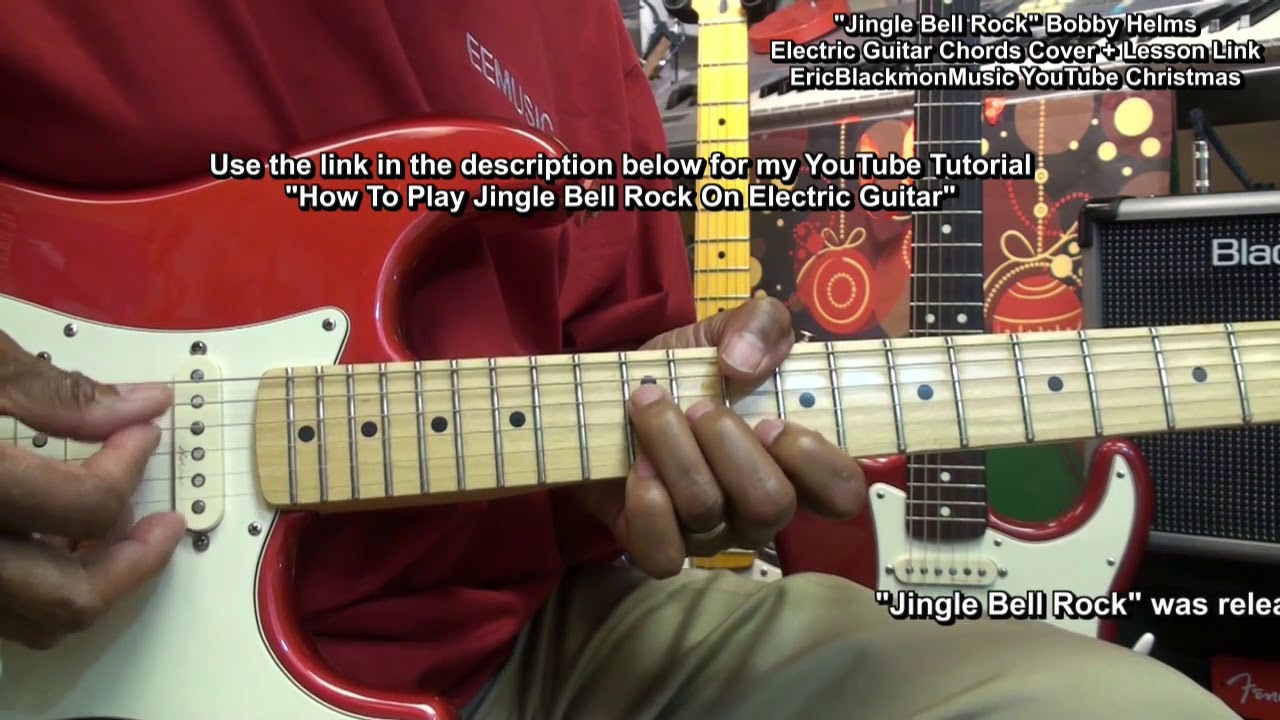 jingle bell rock electric guitar chords cover play through lesson link