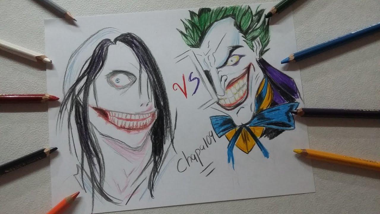 Dibujo de Joker Guason vs Jeff the Killer Drawing Joker vs Jeff