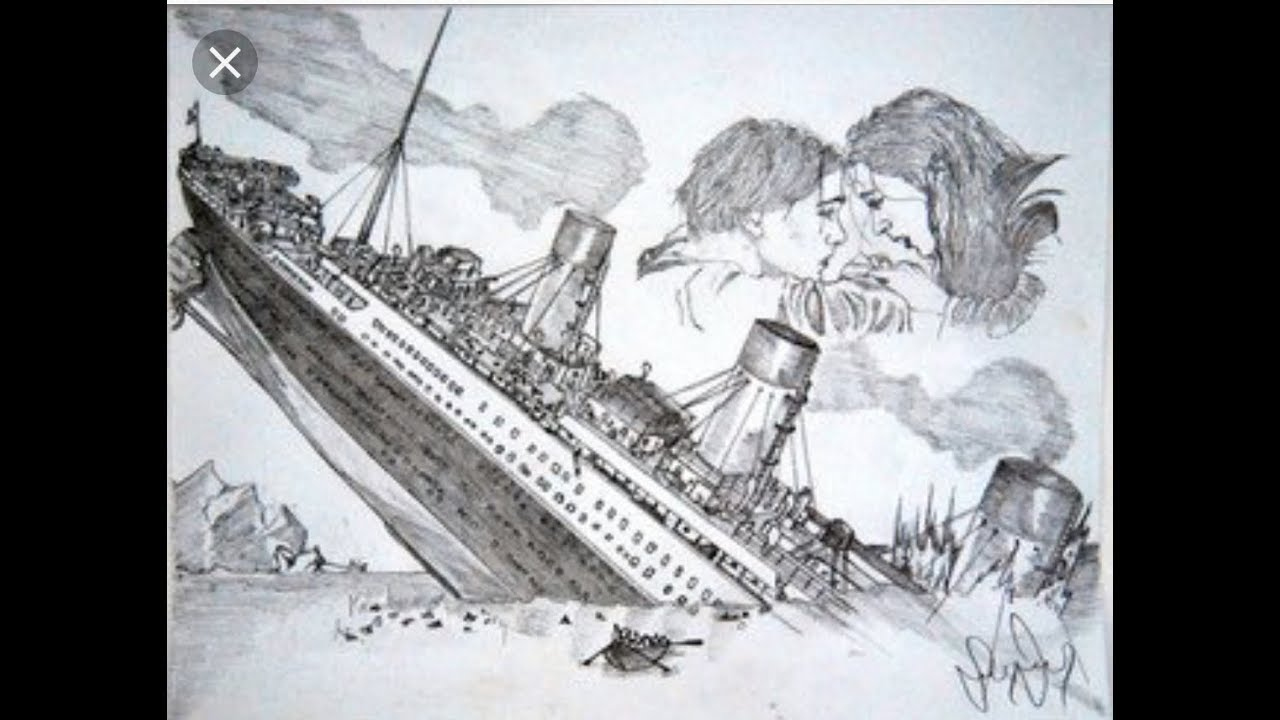 A Sketch Of Titanic Ship Sinking In Ocean Easy Drawing Tutorial