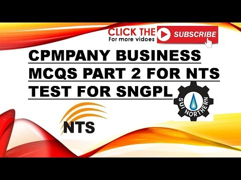 Business companies Mcqs for SNGPL Sui gas NTS test