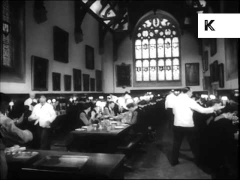 1950s Oxford University, College Life, Dinner in Dining Hall, Archive Footage