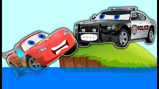 Disney cars Mcqueen fall down into water Police Blash and Monster machines  Kids rhymes