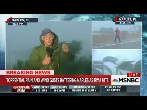 hurricane irma batters weather reporters in naples fl msnbc weather channel