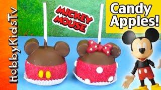 Disney Chocolate Apples! Mickey Mouse, Minnie Mouse Downtown Disney Candy Carmel Hobbykidstv