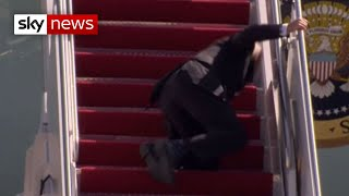 President Biden falls on Air Force One stairs