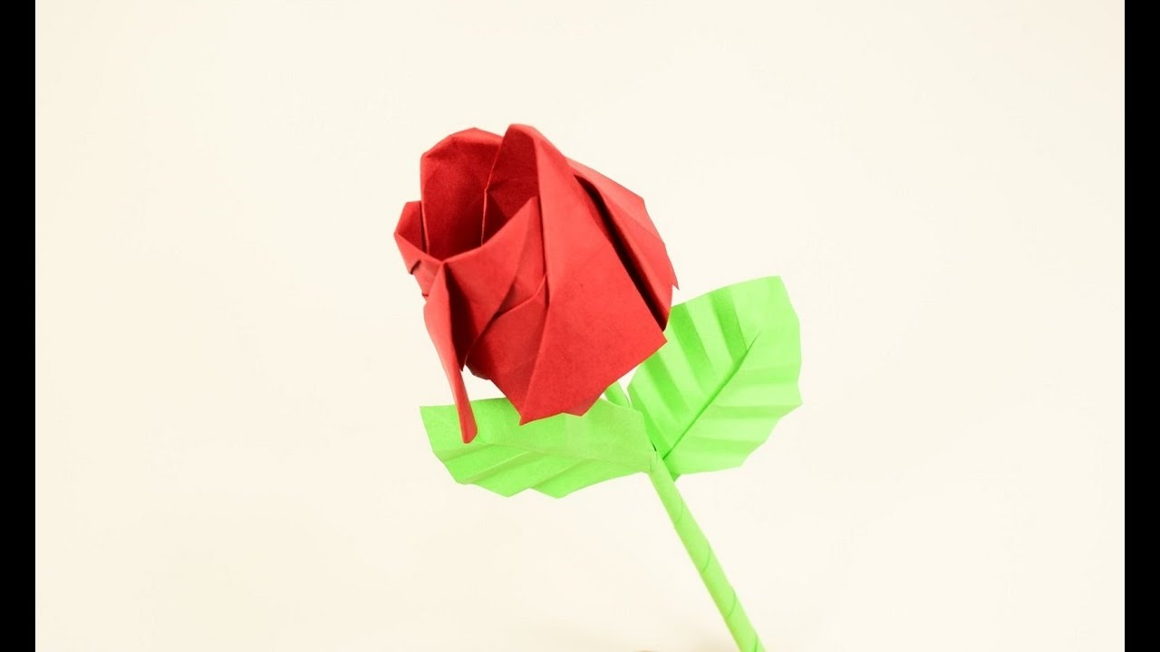 Rose Origami with Stem and Leafs - YouTube - photo#47