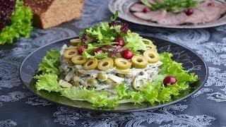 Салат с языком и солеными огурцами