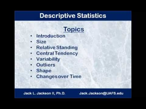 Statistics 1.1.1 Descriptive Statistics Introduction