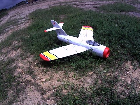 RC scratch built MIG 15 with ducted propellers . Maiden flight