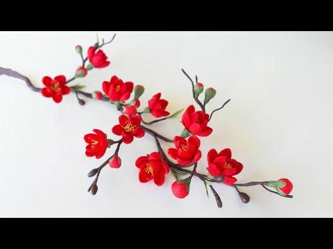 Cách Làm Hoa Mai Đỏ Bằng Giấy Nhún / Paper Flower / Góc nhỏ Handmade
