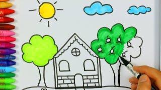 Come disegnare e colorare una casa e un sole 🏡 | Come disegnare e colora per i bambini