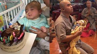 Bé Đức Lộc bị não úng thủy không thể phẫu thuật, bệnh viện Singapore trả về chùa Vạn Đức