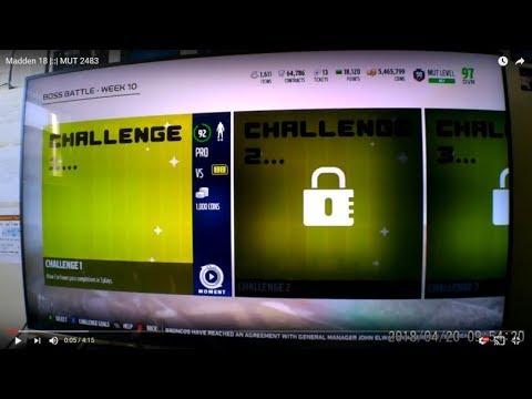 Madden 18  ::  MUT 2483 Boss Battle Wk 10 Challenge 1!!