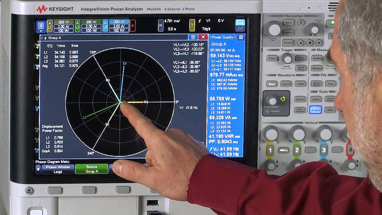 Testing A 3 Phase Motor W   Phasor Diagram On Integravision