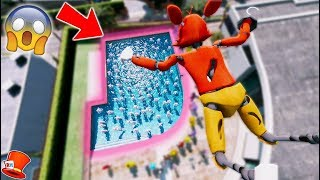 CAN FOXY STUNT LAND INTO A POOL OF MANGLES? (GTA 5 Mods For Kids FNAF RedHatter)