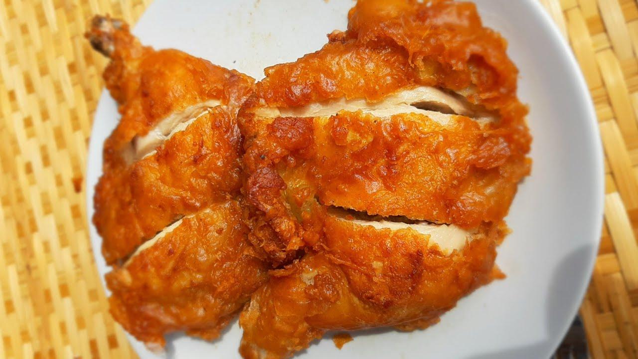 ไก่ชุบแป้งทอด แบบขายในตลาด น่องไก่ทอด สูตรกรอบนอกนุ่มใน